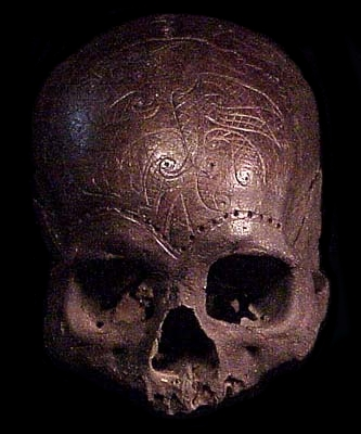 example of early Dayak trophy skull decoration. This is an old skull ...